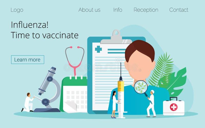 Influensavaccinering Tid som ska vaccineras stock illustrationer