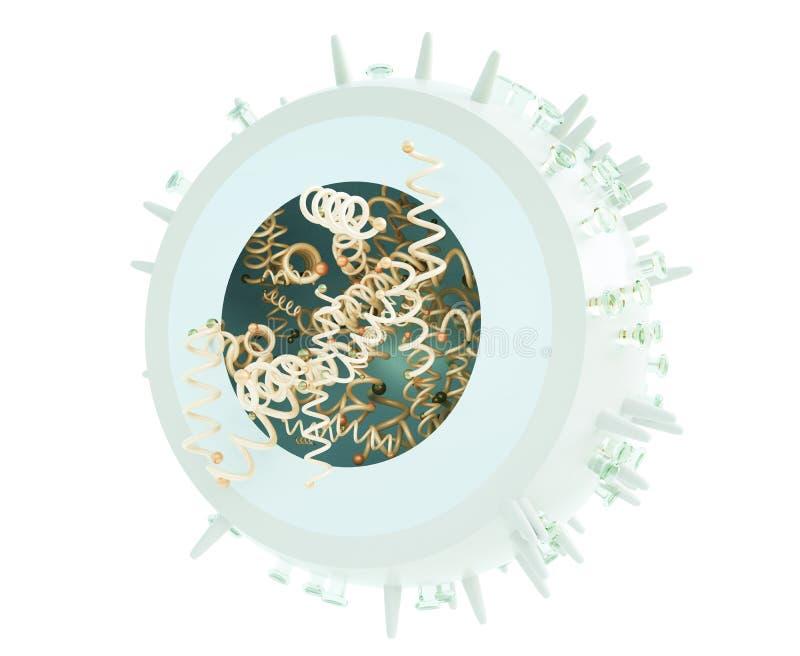 Influensavirus, 3D tolkning, tolkning 3D stock illustrationer