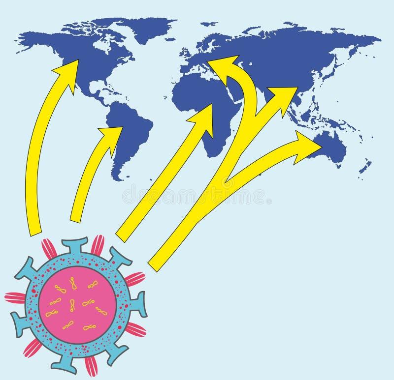 influensavirusworldmap royaltyfri illustrationer
