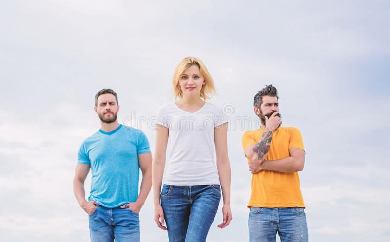 Influential women leader. Leadership concept. Woman in front of men feel confident. Moving forward support male team stock photography