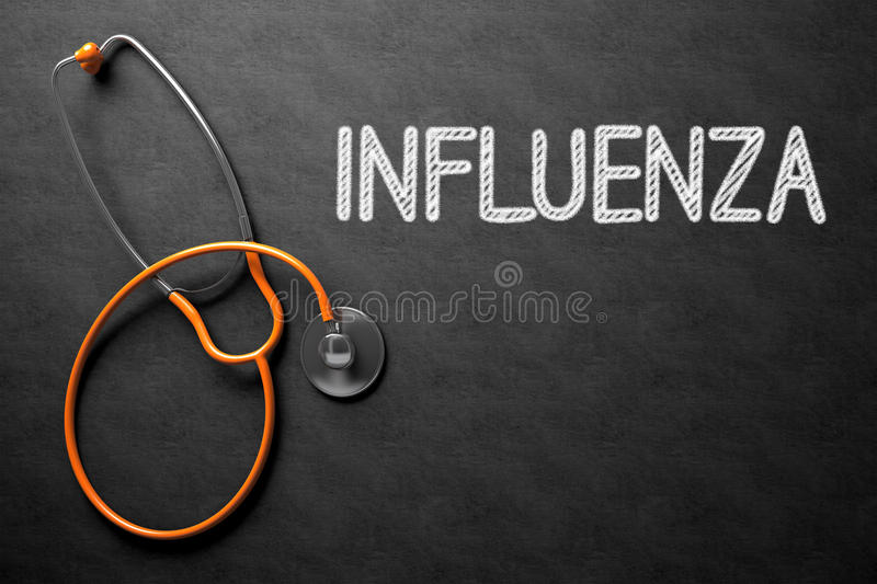 Influenza Concept on Chalkboard. 3D Illustration. Medical Concept: Influenza Handwritten on Black Chalkboard. Medical Concept: Black Chalkboard with Influenza royalty free stock images
