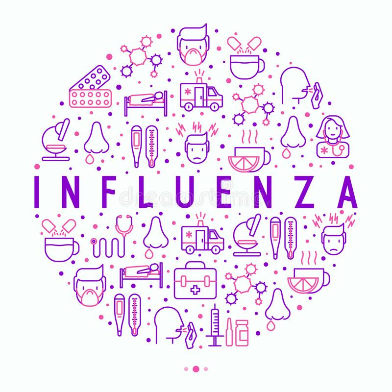 Influenza concept in circle with thin line icons stock illustration