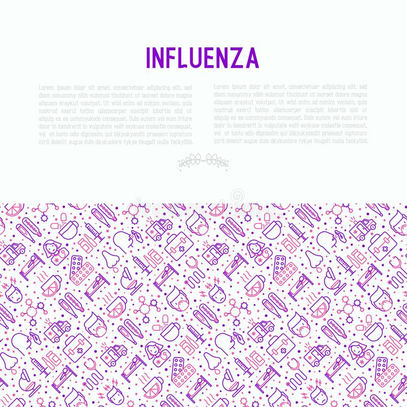 Influenza concept with thin line icons. Of symptoms and treatments: runny nose, headache, pain in throat, temperature, pills, medicine. Vector illustration for stock illustration