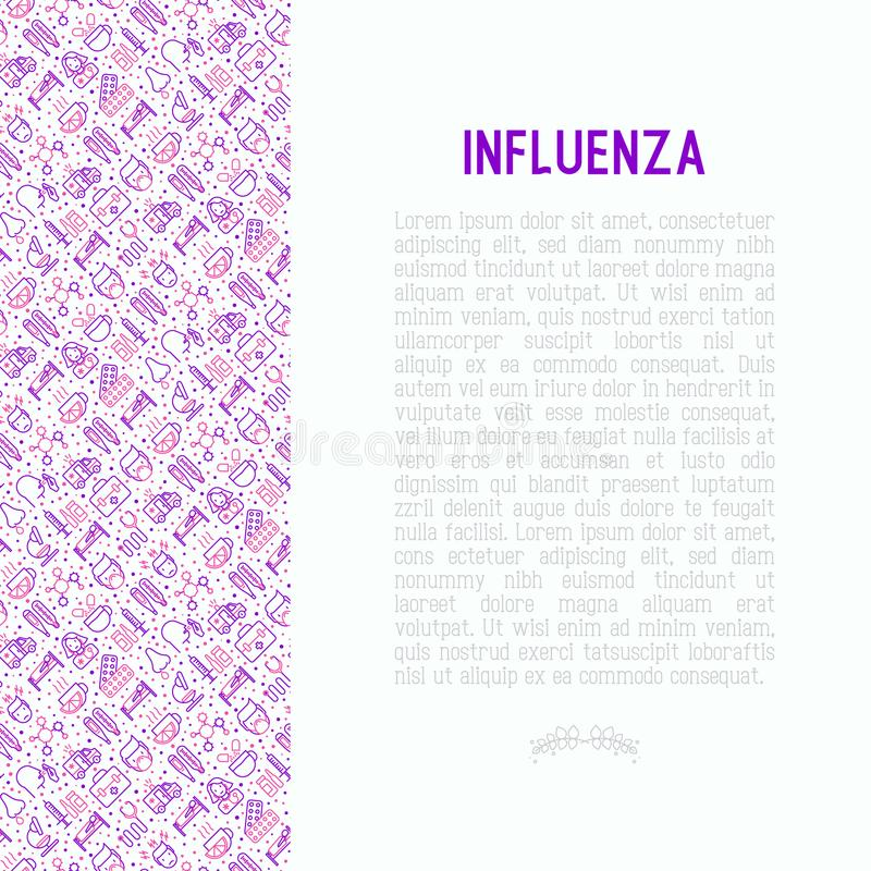 Influenza concept with thin line icons stock illustration