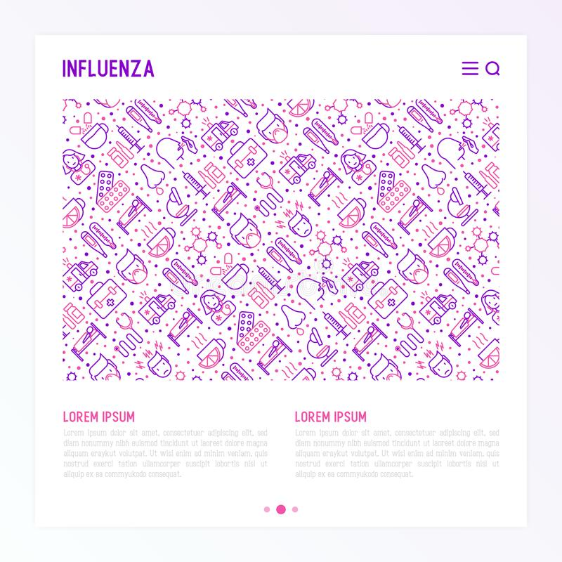 Influenza concept with thin line icons. Of symptoms and treatments: runny nose, headache, pain in throat, temperature, pills, medicine. Vector illustration for vector illustration
