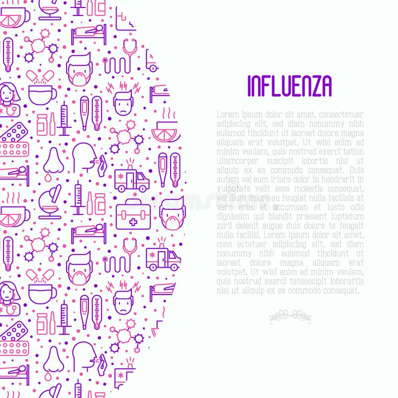 Influenza concept with thin line icons. Of symptoms and treatments: runny nose, headache, pain in throat, temperature, pills, medicine. Vector illustration for royalty free illustration