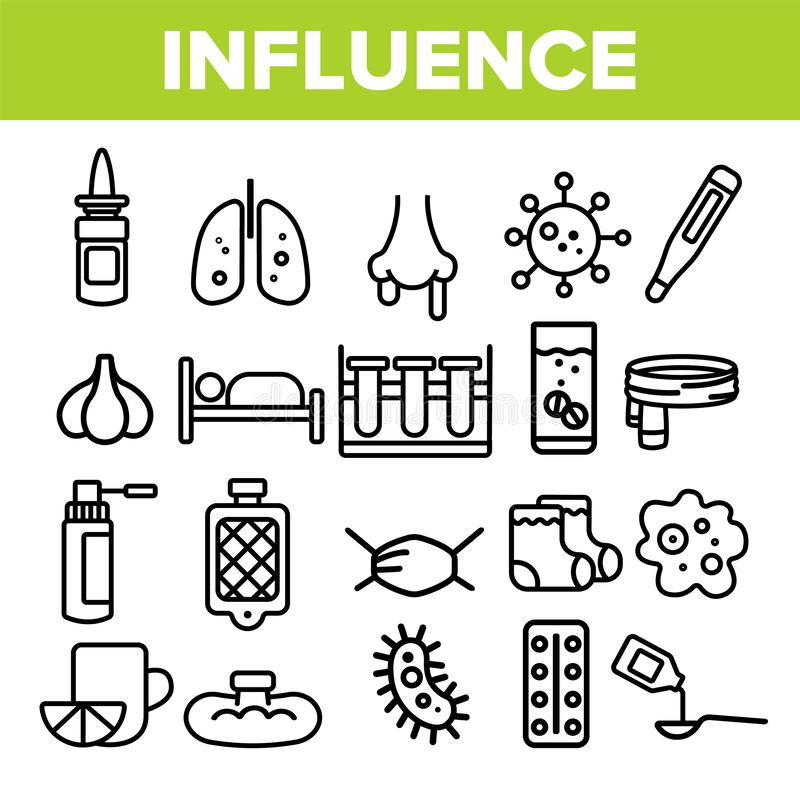Influenza Linear Vector Icons Set Thin Pictogram royalty free illustration