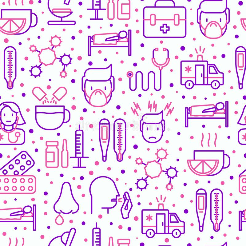 Influenza seamless pattern with thin line icons. Of symptoms and treatments: runny nose, headache, pain in throat, temperature, pills, medicine. Vector royalty free illustration