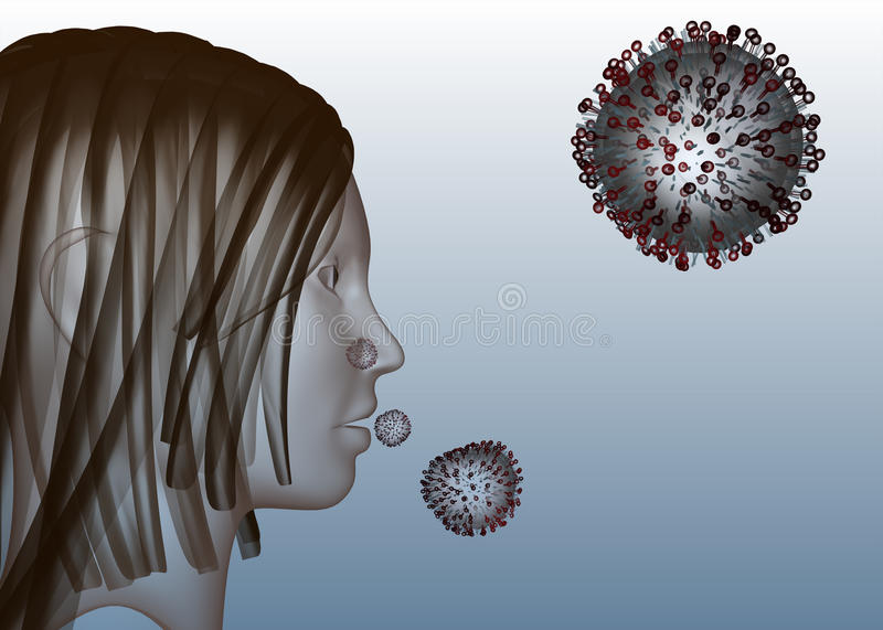 Influenza virus. A stylized 3d visualization of a the structure of an influenza virus royalty free illustration