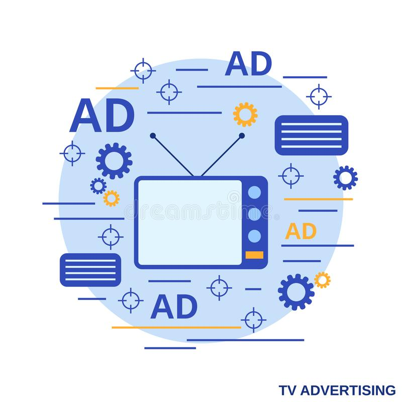 TV marketing, advertisement, promotion vector concept vector illustration