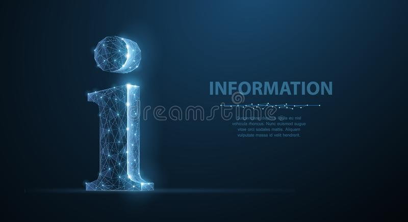 Info. Abstract vector 3d info sign isolated on blue background. stock illustration