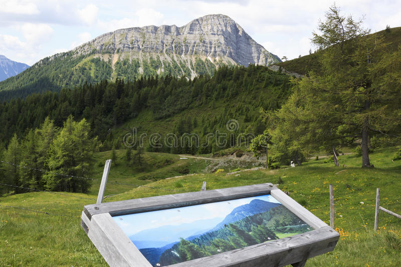 Info board in Austrian mountains, Carinthia. Recreation ground at the end of the Goldeck Panorama road at an altitude of 1,895 m in Austria Stockenboi royalty free stock image