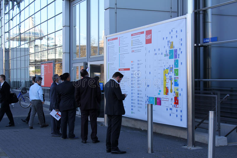 Info Board. HANNOVER, GERMANY - MARCH 13: Info Board on March 13, 2014 at CEBIT computer expo, Hannover, Germany. CeBIT is the world's largest computer expo stock photography