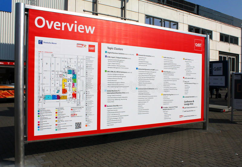 The Info Board. HANNOVER, GERMANY - MARCH 20: The Info Board on March 20, 2015 at CEBIT computer expo, Hannover, Germany. CeBIT is the world's largest computer royalty free stock images