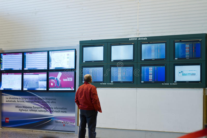 Info boards in airport stock image