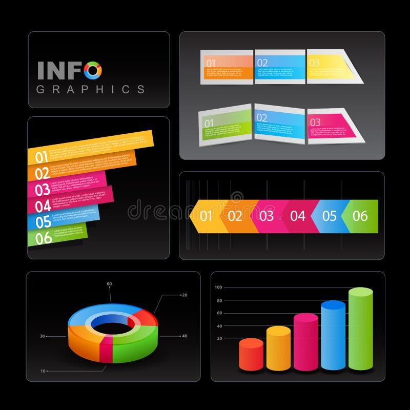 Info-diagram element på svart bakgrund. vektor illustrationer