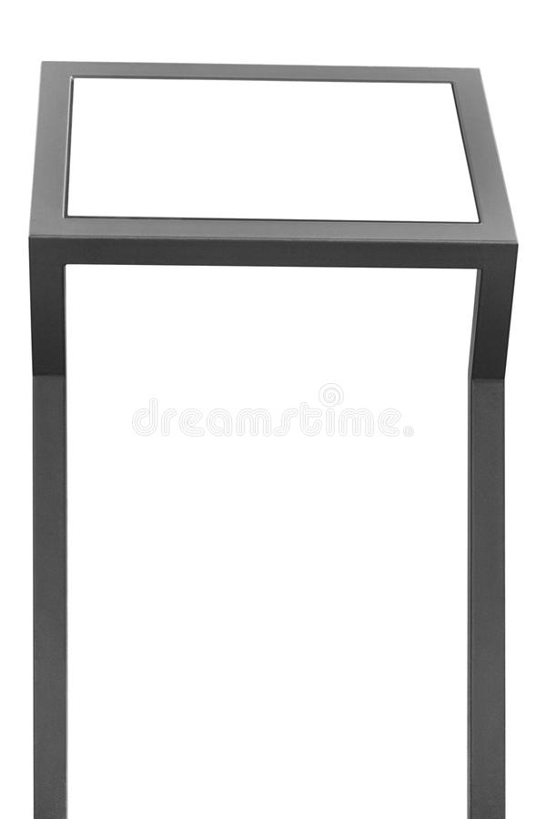 Info display stand, grey metal rack info board, isolated. Horizontal framed meny copy space, two vertical gray metallic poles, poster presentation frame stock images