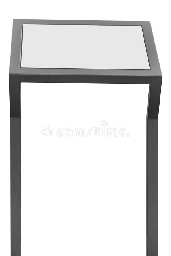 Info display stand, grey metal rack info board, isolated white. Horizontal framed meny copy space, two vertical gray metallic poles, poster presentation frame royalty free stock photo