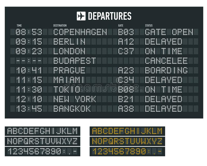 Info of flight on the billboard in the airport. Airport terminal arrival and departure timetable, information board. Display alphabet vector illustration