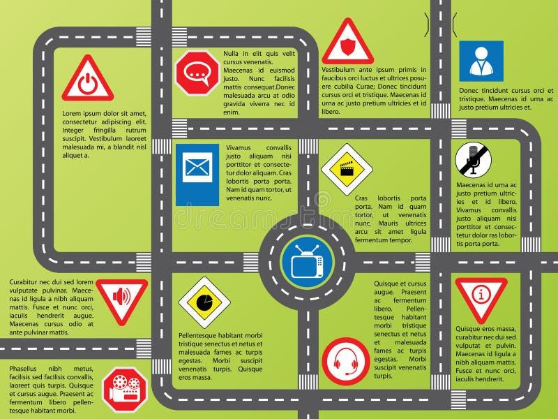 Info grafisch met wegen en modieuze tekens stock illustratie