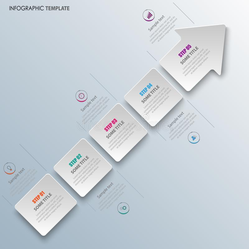 Info graphic with abstract arrow in white design. Vector eps 10 stock illustration