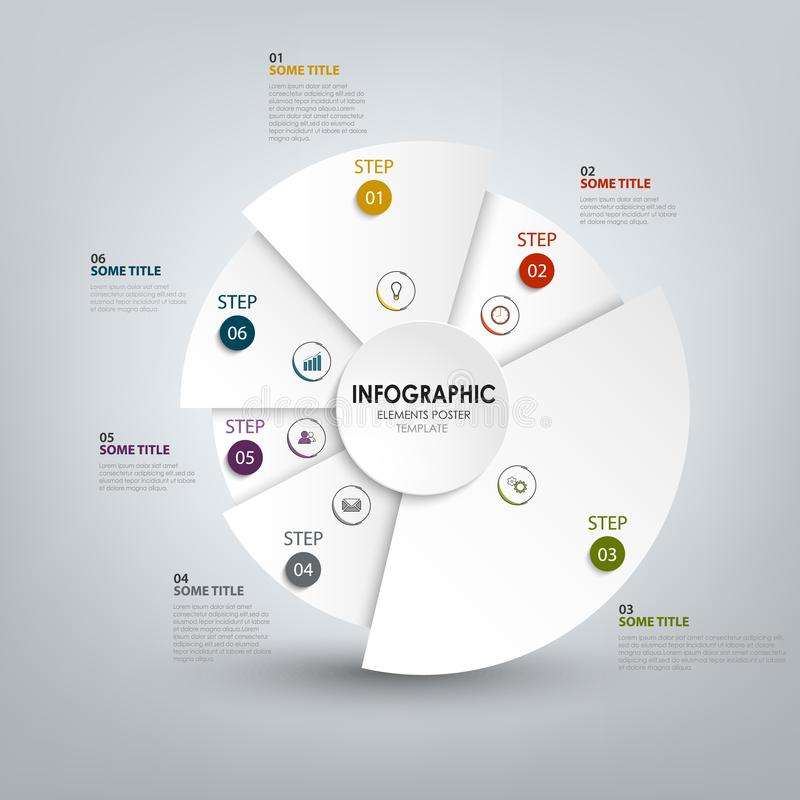 Info graphic with abstract white rounded segments template. Vector eps 10 royalty free illustration