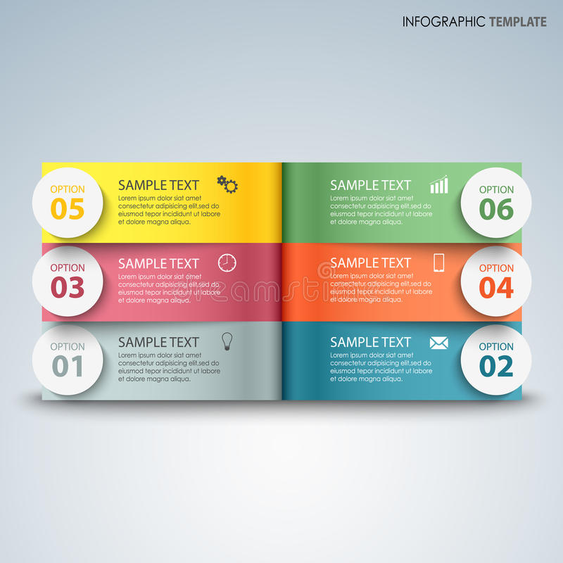 Info graphic with colorful pages above another template royalty free illustration