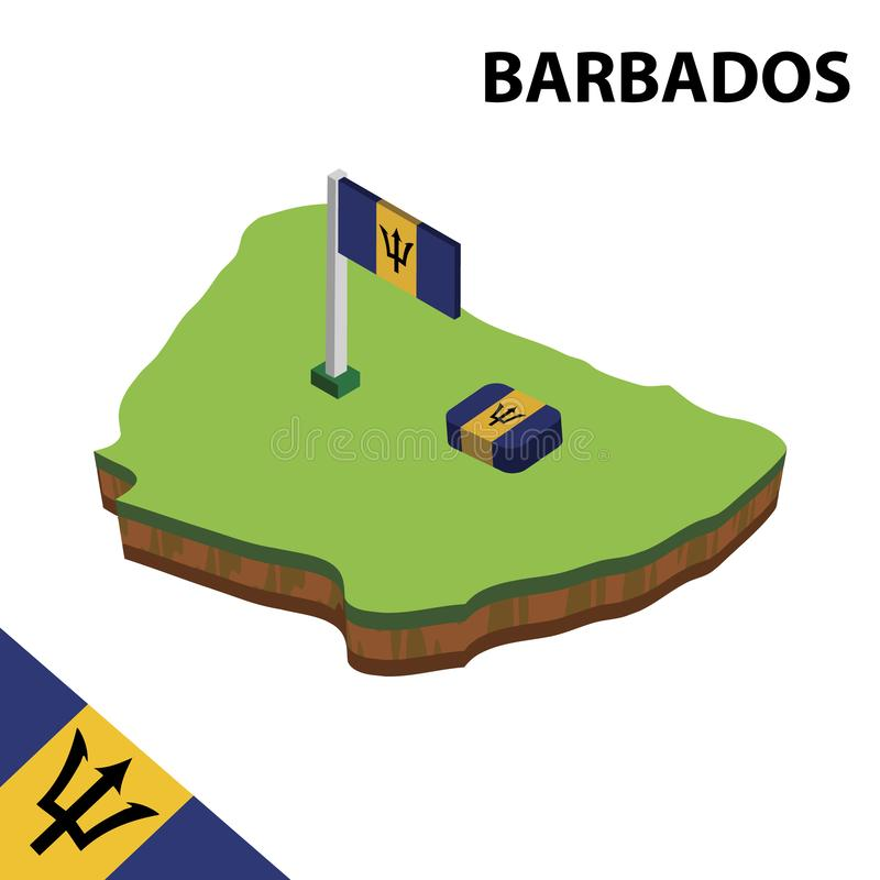 Info graphic  Isometric map and flag of Barbados. 3D isometric Vector Illustration stock illustration