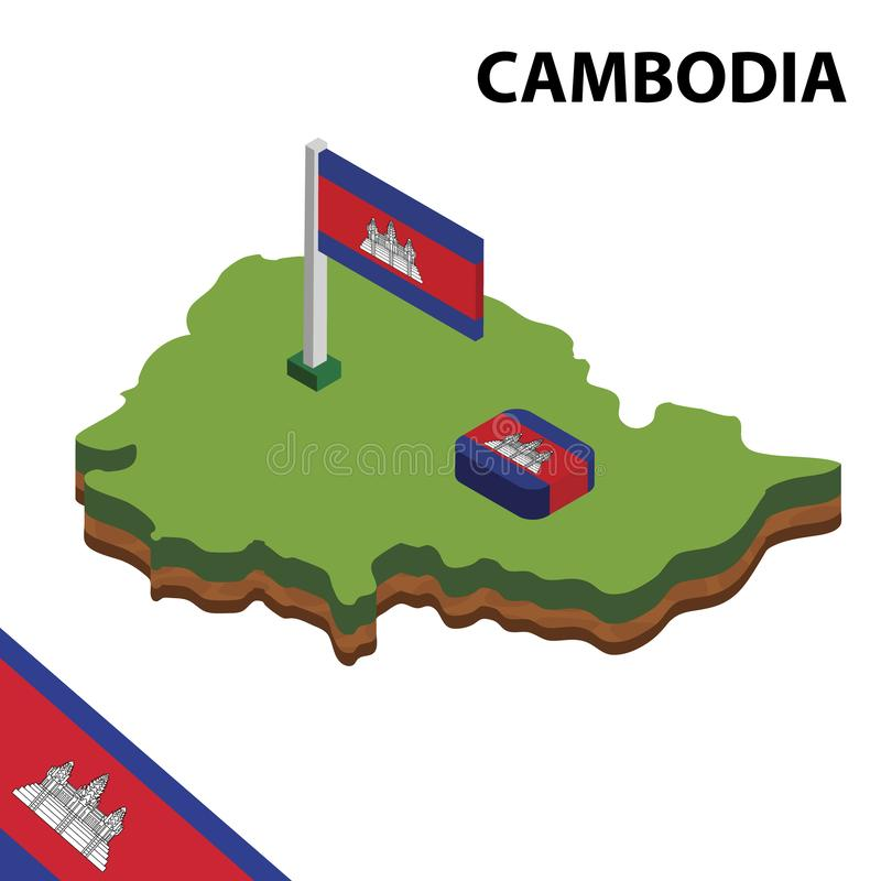 Info graphic  Isometric map and flag of CAMBODIA. 3D isometric Vector Illustration vector illustration