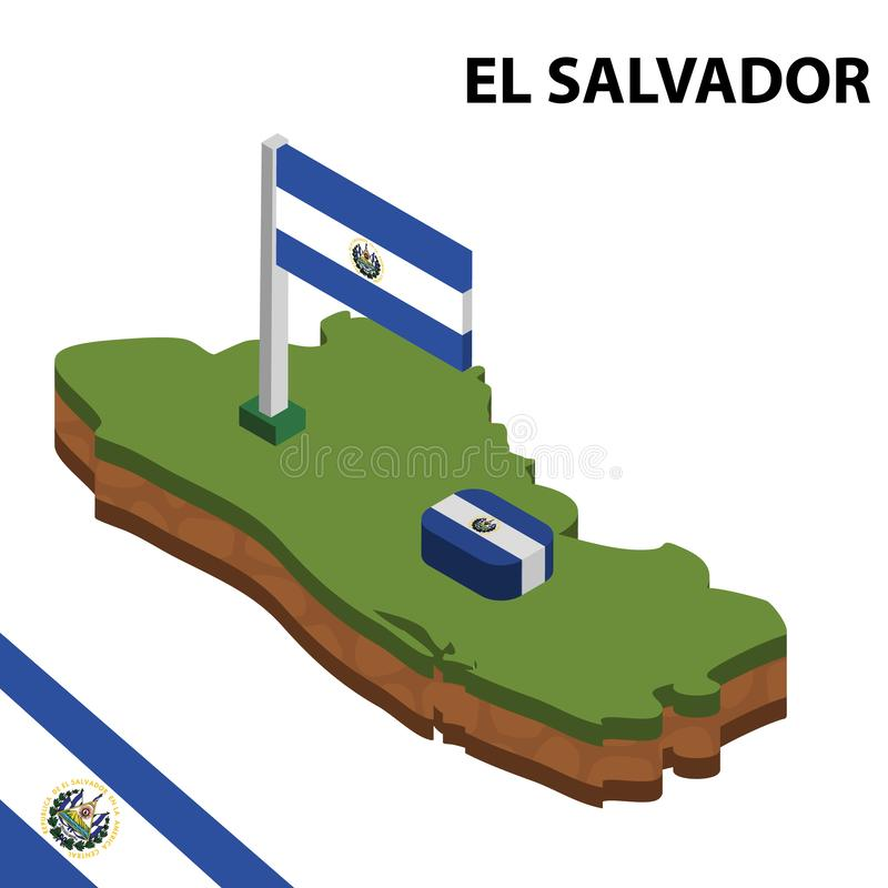 Info graphic  Isometric map and flag of EL SALVADOR. 3D isometric Vector Illustration stock illustration