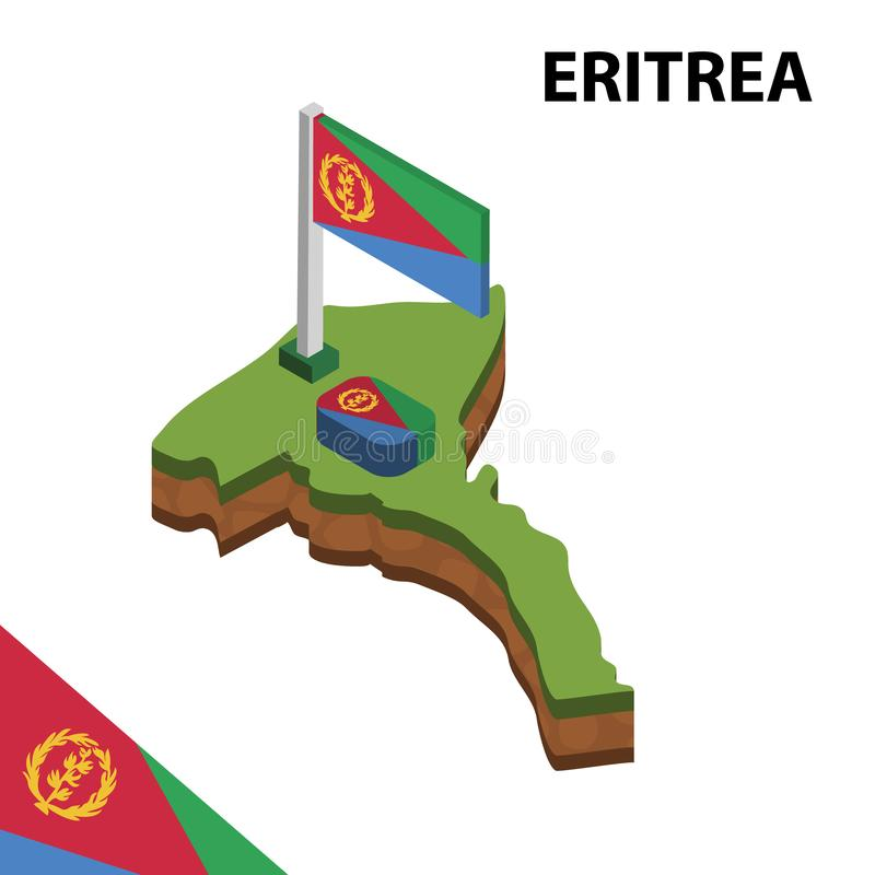Info graphic  Isometric map and flag of ERITREA. 3D isometric Vector Illustration royalty free illustration