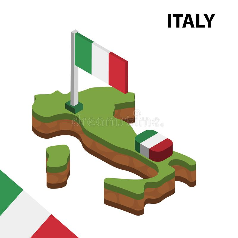 Info graphic  Isometric map and flag of ITALY. 3D isometric Vector Illustration vector illustration