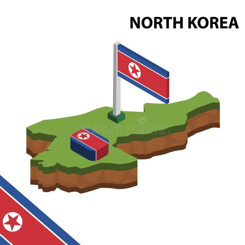 Info graphic  Isometric map and flag of NORTH KOREA. 3D isometric Vector Illustration stock illustration
