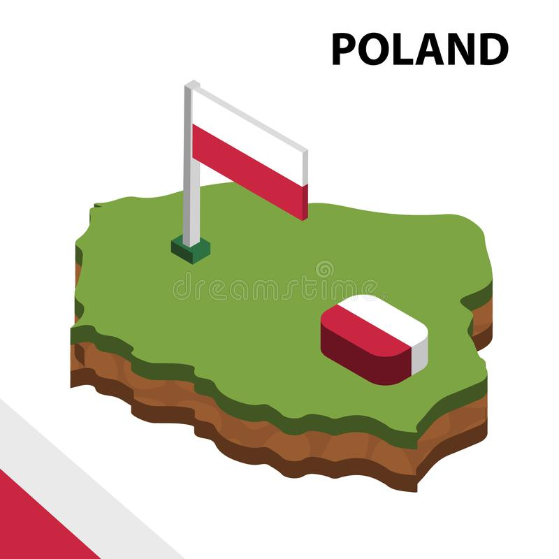 Info graphic  Isometric map and flag of POLAND. 3D isometric Vector Illustration vector illustration
