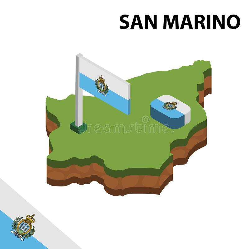 Info graphic  Isometric map and flag of  SAN MARINO. 3D isometric Vector Illustration royalty free illustration