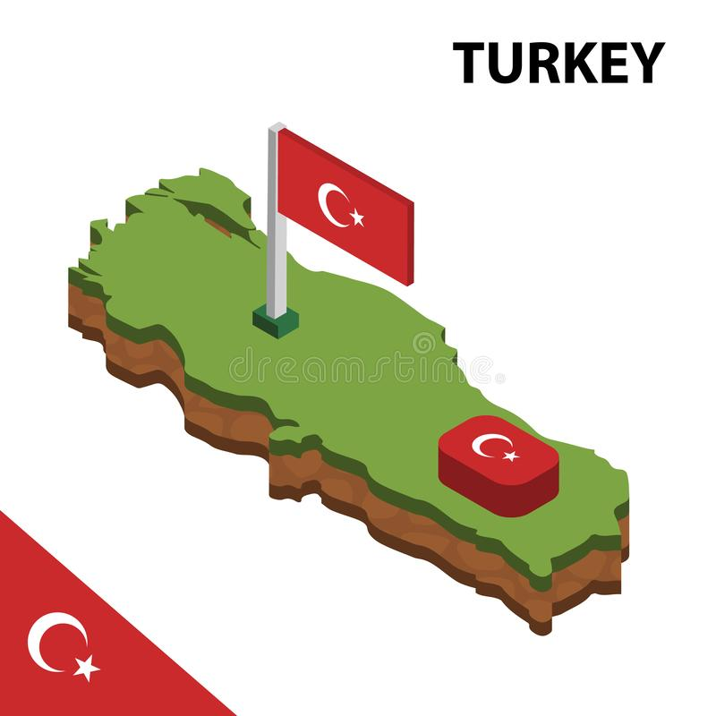 Info graphic  Isometric map and flag of TURKEY. 3D isometric Vector Illustration royalty free illustration