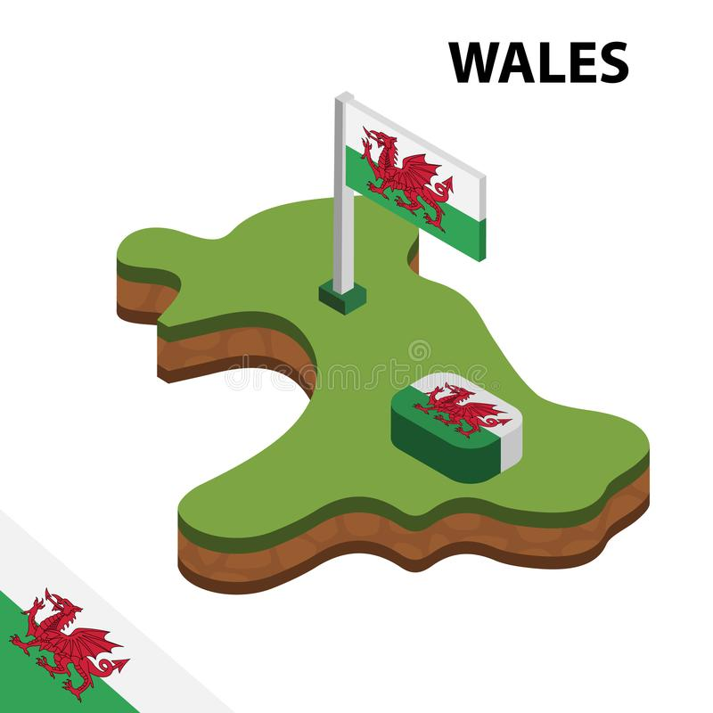 Info graphic  Isometric map and flag of WALES. 3D isometric Vector Illustration vector illustration