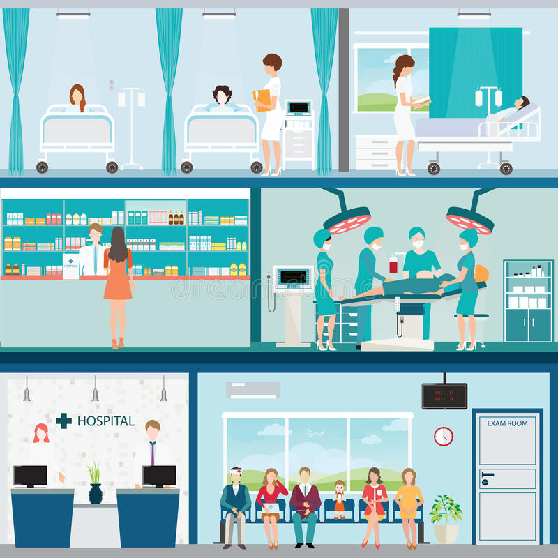 Info graphic of Medical hospital surgery operation room. stock illustration