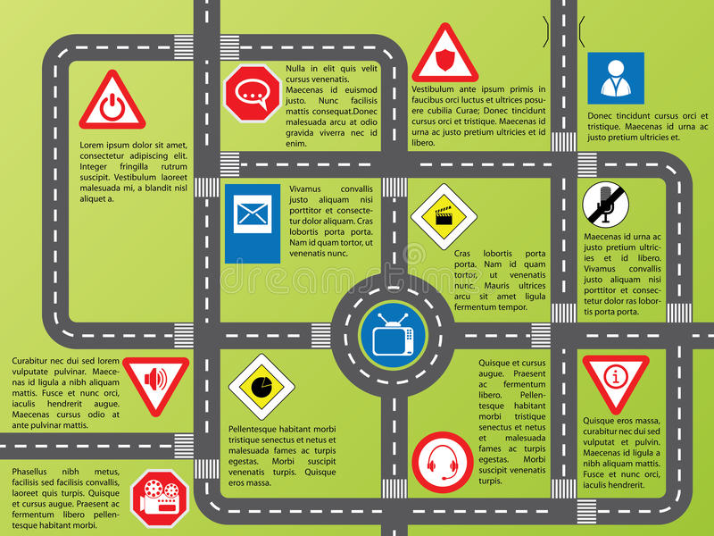 Download Info Graphic With Roads And Stylish Signs Royalty Free Stock Images - Image: 22988659