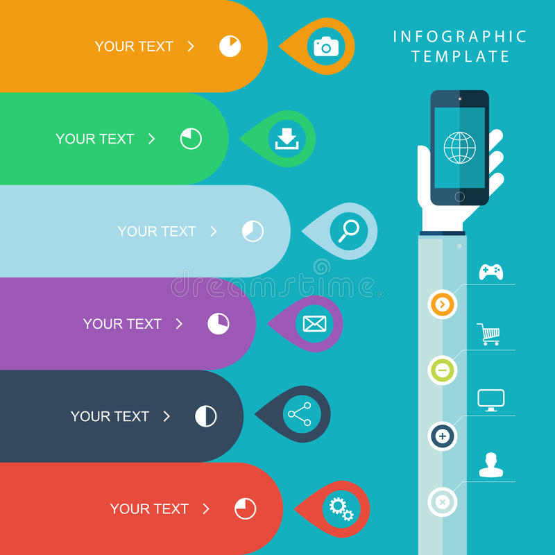Info graphic template with hand holding phones for marketing plan, sales chart illustration, work flow layout, diagram. Info graphic template with hand holding vector illustration