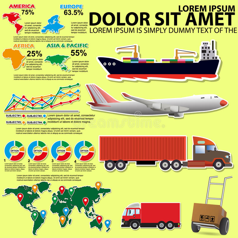 Info Graphic on transportation. By vehicles of various types stock illustration