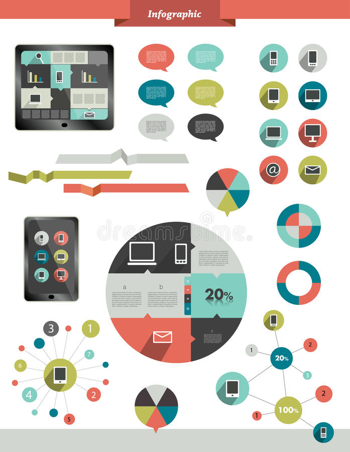 Info graphics set elements. Info graphics set elements of smart phone communication stock illustration