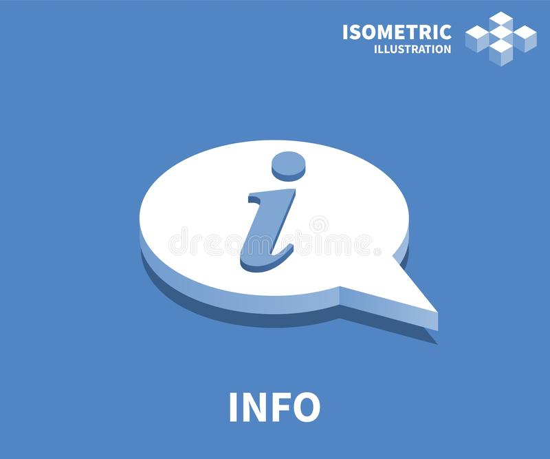 Info icon, vector illustration in flat isometric 3D style.  vector illustration