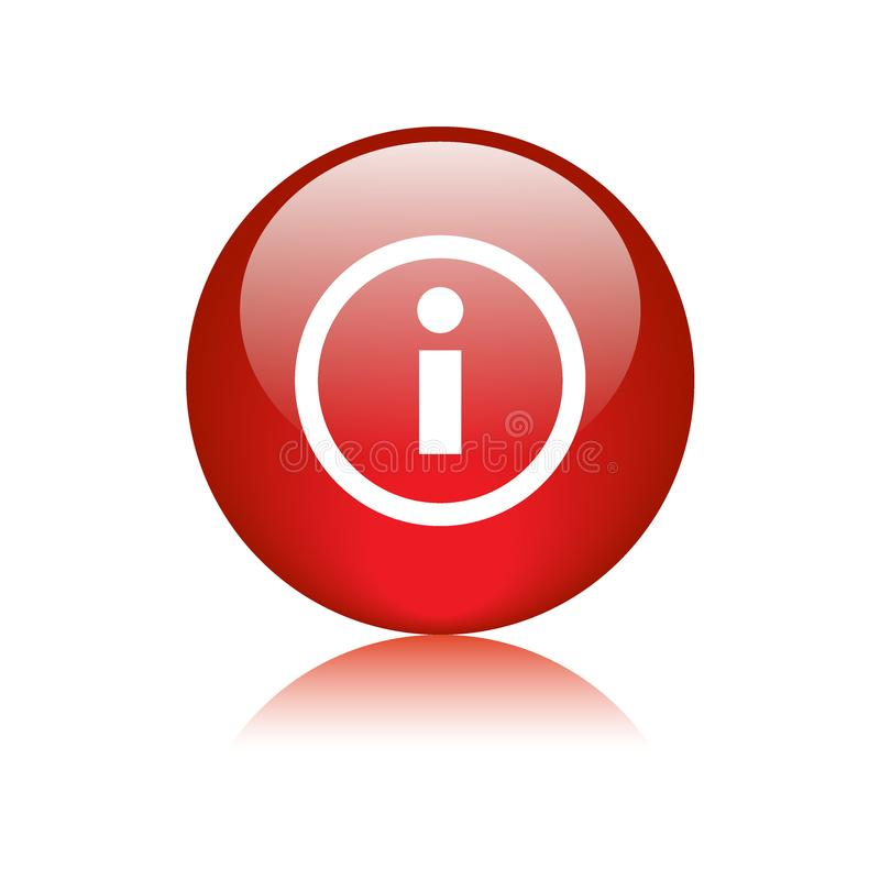 Info icon web button red. Info icon web button - vector illustration on isolated white background with reflection shadow stock illustration