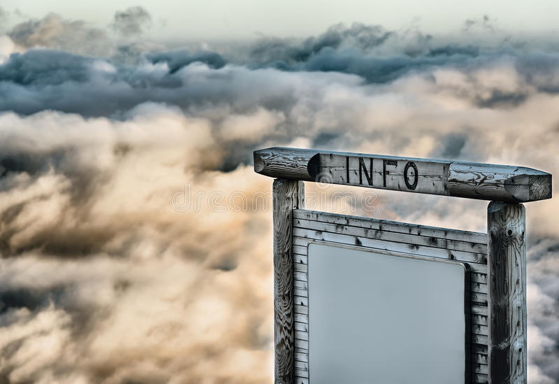 Info panel over the clouds. At dusk stock images