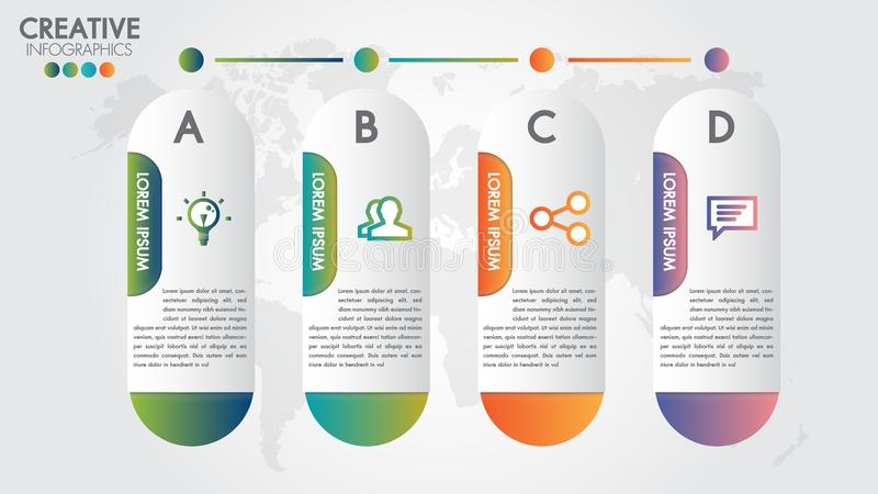 Infographic modern design vector template for business with 4 steps or options illustrate a strategy.Can be used for workflow stock illustration