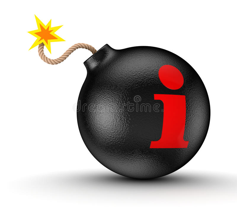 Info symbol on a black bomb. On white background.3d rendered royalty free stock photos
