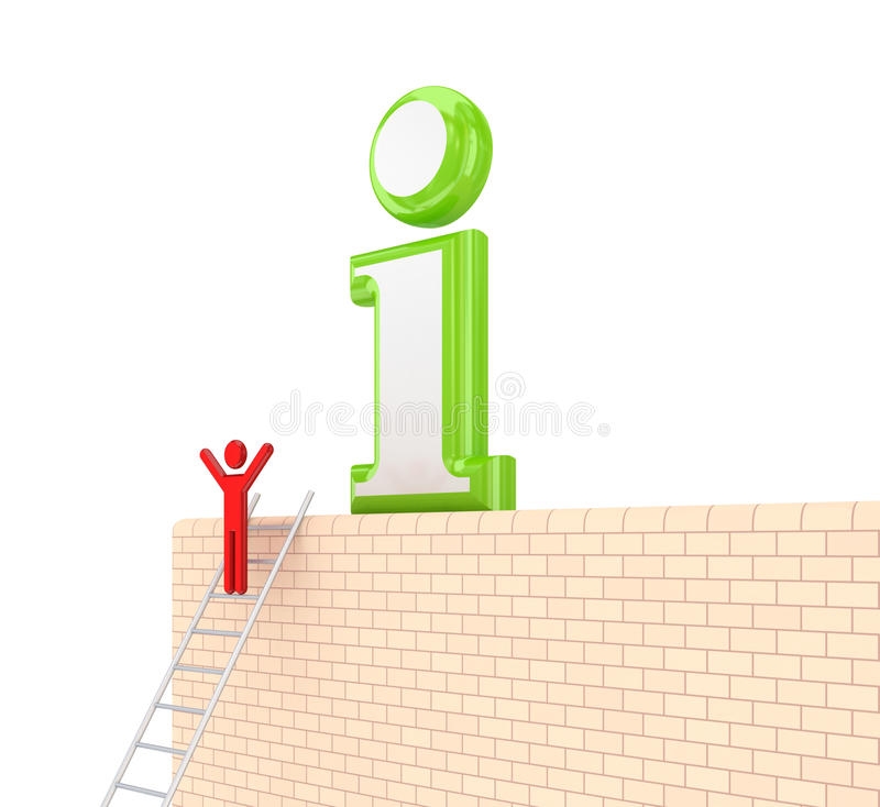 Info symbol on a wall. On white background. 3d rendered royalty free stock images