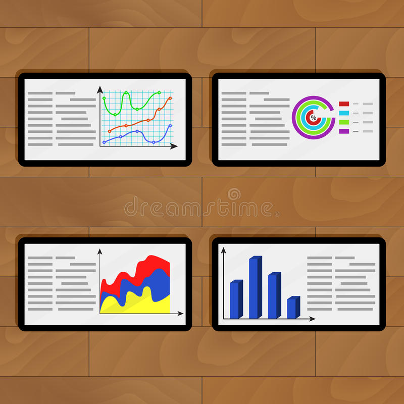 Infochart business on tablets. Vector information pie chart data, planning infographic on tablets illustration stock illustration