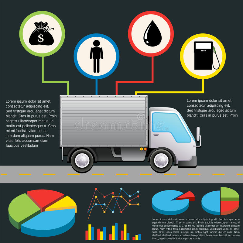 An infochart of a delivery van. On a gray background royalty free illustration
